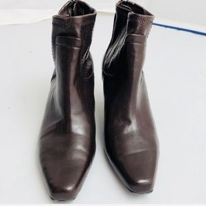 Franco Sarto deep brown soft leather ankle bootie